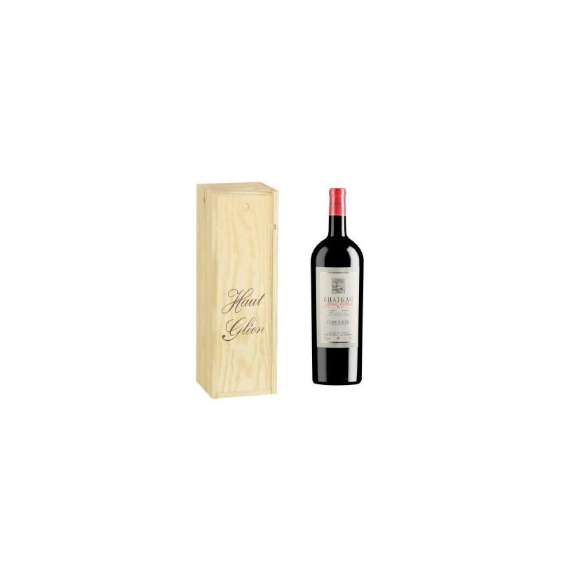 CORBIERES -VINO AOC TINTO- Château Haut Gléon 150 cl en estuche de madera individuales