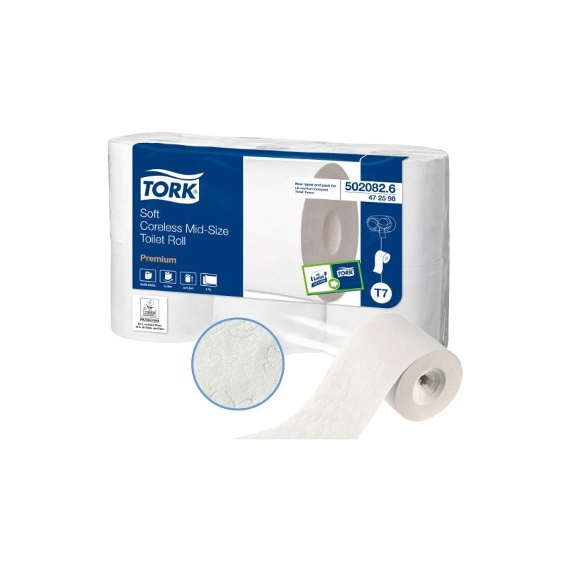 """TOILET PAPER """"TORK Mid-size"""" 450 F -without mandrin- 6 rolls"""