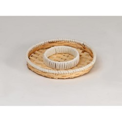 TRAY Wooden and white rope with 2 compartments