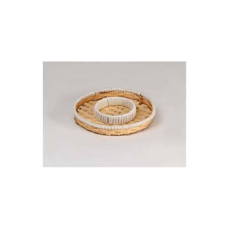 MESETA cuerda de madera y blanco con 2 compartimentos