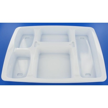 TRAY 5 compartments for your FOOD PLASTIC WHITE - 334 * 238 mm - 25