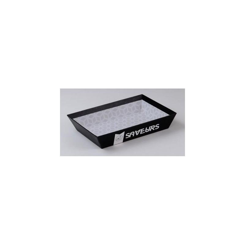 """CORBEILLE en carton NOIRE """"Saveurs"""" - 27x20x5 cm"""