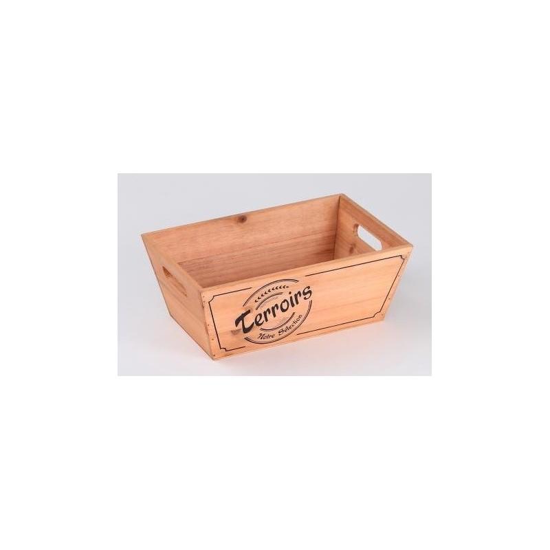 "BASKET rectangular in Natural Wood ""TERROIRS"" - 28x18x11 cm"