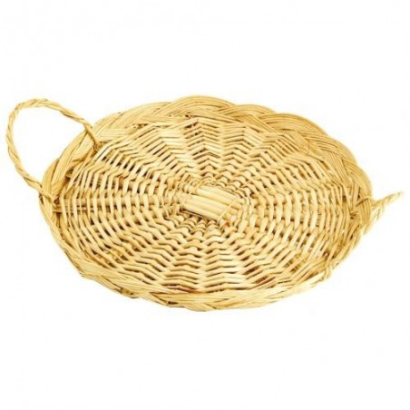 Round Solid Wicker Tray with 2 handles - Ø 30 x 3 cm