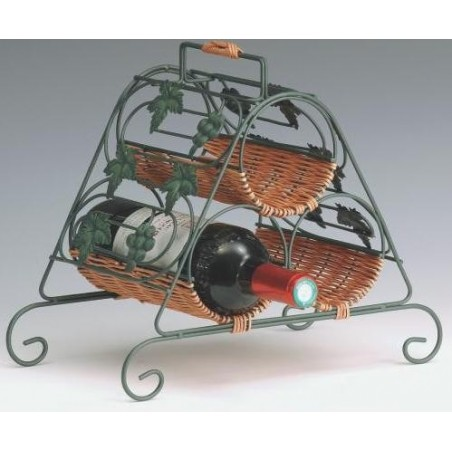 BASKET -Door 3 bottles- metal / Rattan