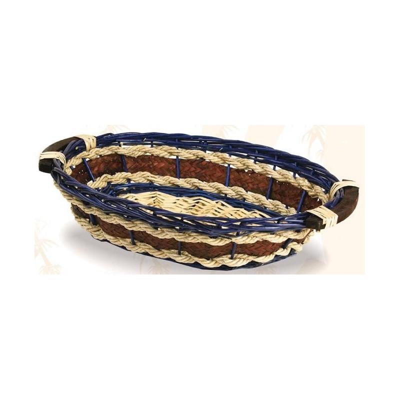 BASKET-Monique-Wicker / navy blue rope