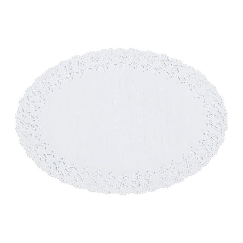 ROUND LACE Papier - White 12 cm, Packung mit 250