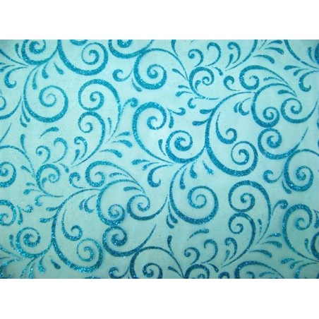 PATH Fabric width 0.30 m-TURQUOISE TABLE - roll 5 m