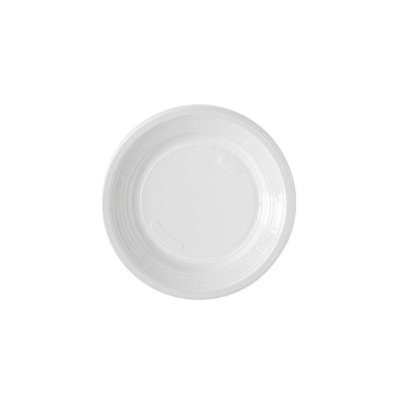 ROUND PLASTIC PLATE -Ø 17 cm- White - The bag 50