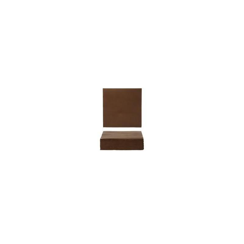 SERVIETTE CHOCOLAT en papier jetable 40 x 40 cm 2 épaisseurs - le sachet de 50