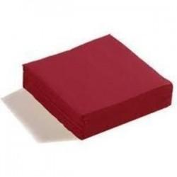SERVIETTE BORDEAUX en papier jetable 38 x 38 cm 2 épaisseurs - le sachet de 50