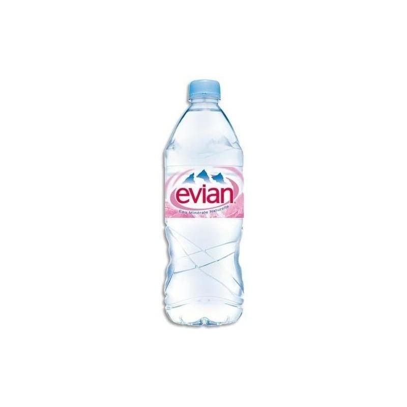 agua de Evian botella de plástico PET de 1 litro