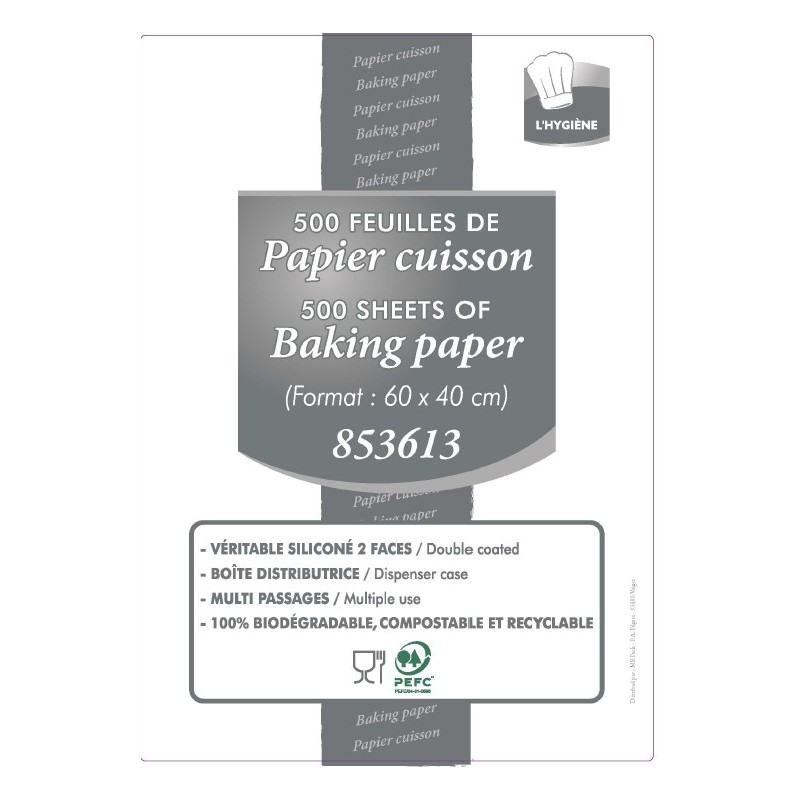 Baking paper Double-sided silicone 60 cm x 40 cm - 500-sheet dispenser box