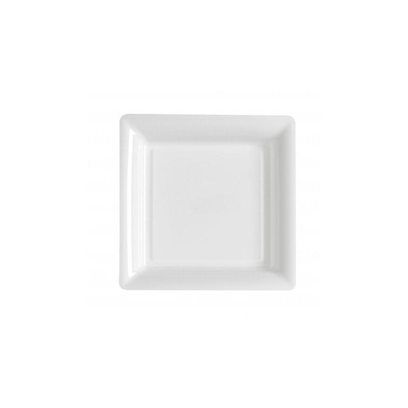 Plato blanco cuadrado 18x18 cm plástico desechable - los 12