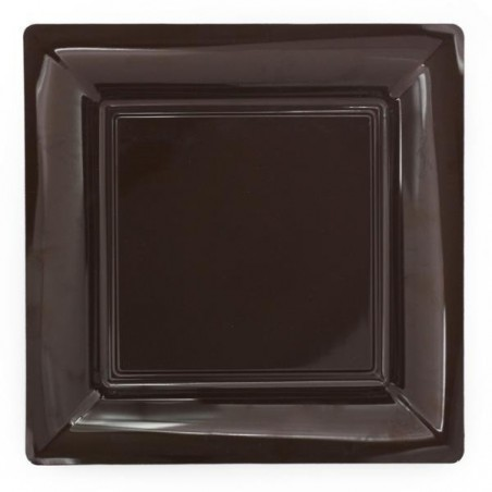 Chocolate square plate 18x18 cm disposable plastic - the 12
