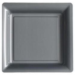 Piatto in argento grigio 18x18 cm plastica monouso - il 12