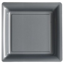 Plate silver gray 18x18 cm disposable plastic - the 12
