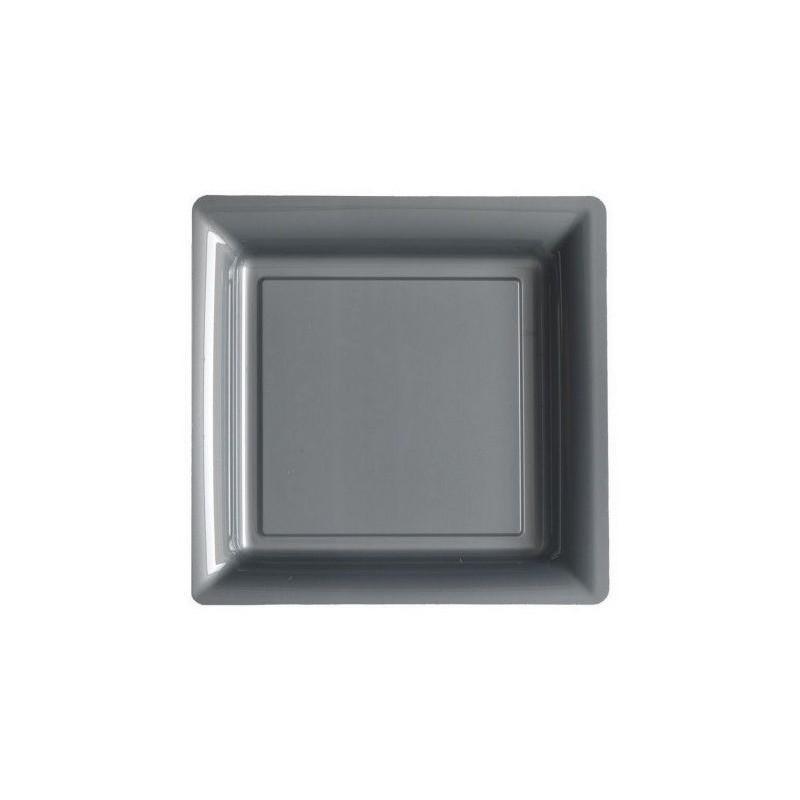Assiette carrée gris argent 18x18 cm en plastique jetable - les 12
