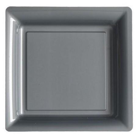 Plato plata gris 18x18 cm plástico desechable - los 12