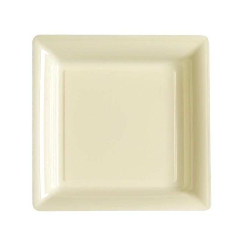 Assiette carrée ivoire 18x18 cm en plastique jetable - les 12