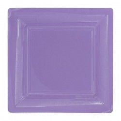 Plato cuadrado lila 18x18 cm plástico desechable - los 12
