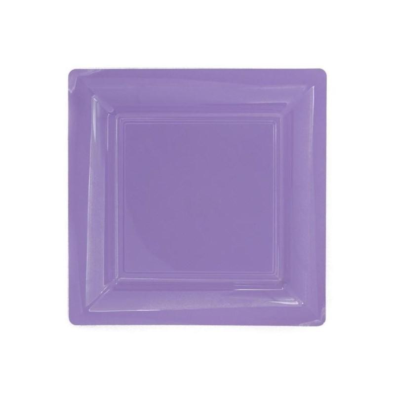 Assiette carrée lilas 18x18 cm en plastique jetable - les 12