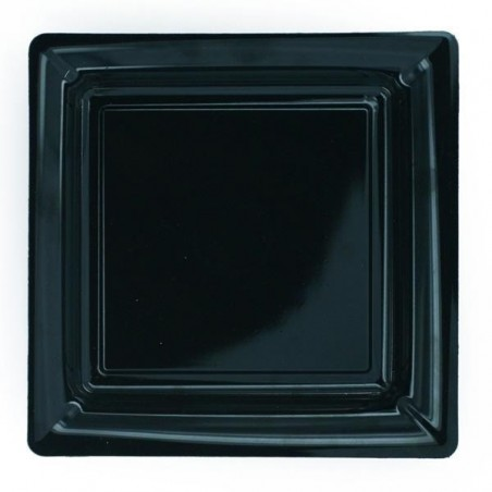 black square plate 18x18 cm disposable plastic - 12