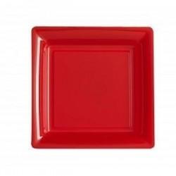 Assiette carrée rouge 18x18 cm en plastique jetable - les 12