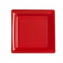 Plato cuadrado rojo 18x18 cm plástico desechable - los 12