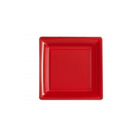 Plate square red 18x18 cm disposable plastic - the 12