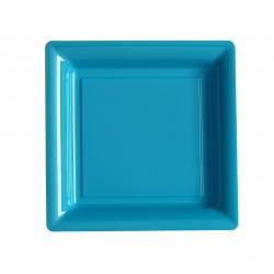 Assiette carrée turquoise 18x18 cm en plastique jetable - les 12