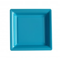 Plate square turquoise 18x18 cm disposable plastic - the 12