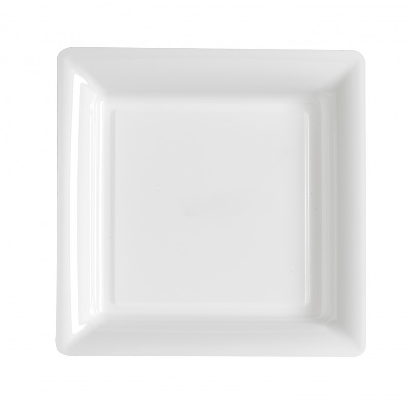 Plate white square 23x23 cm disposable plastic - the 12