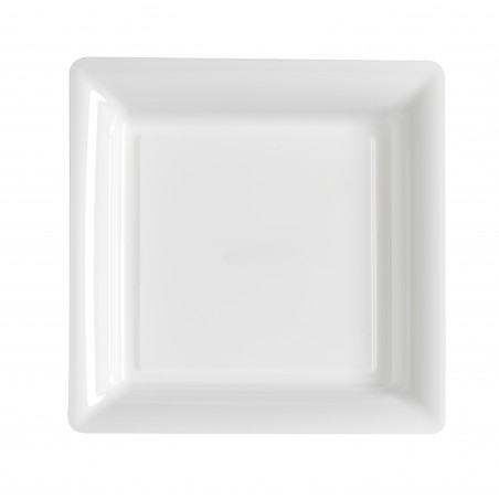 Assiette carrée blanche 23x23 cm en plastique jetable - les 12