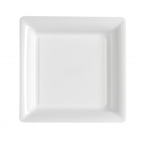 Plato blanco cuadrado 23x23 cm plástico desechable - el 12