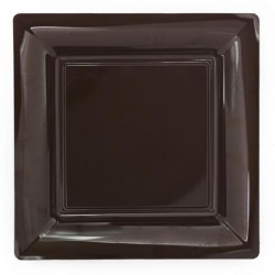 Assiette carrée chocolat 23x23 cm en plastique jetable - les 12