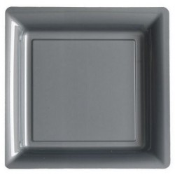 Plate silver gray 23x23 cm disposable plastic - the 12