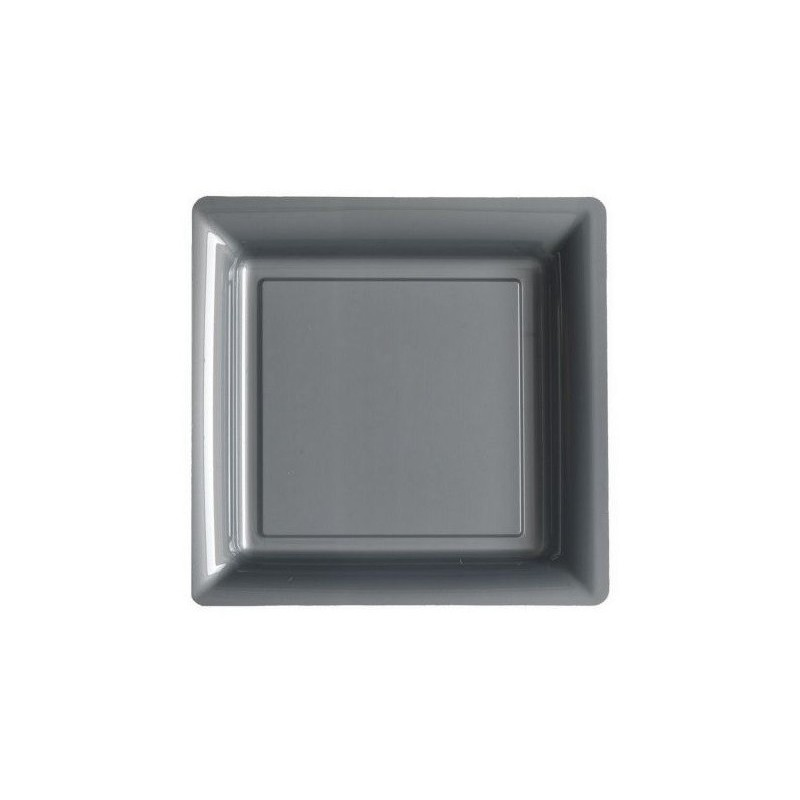 Plate Silver Gray 23x23 Cm Disposable