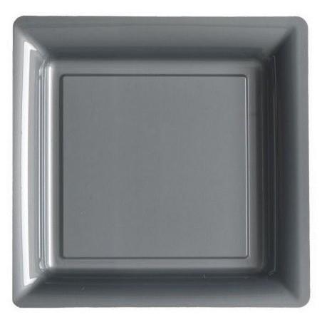 Assiette carrée gris argent 23x23 cm en plastique jetable - les 12