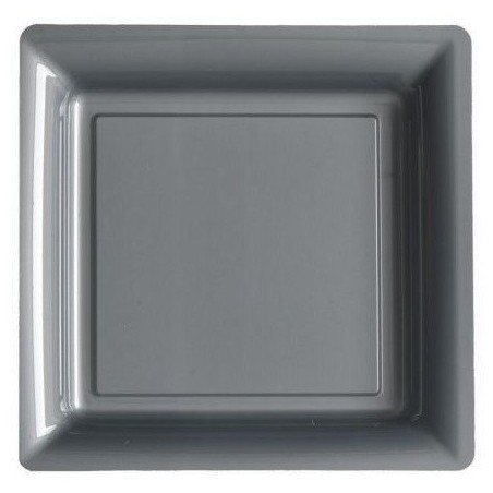 Plato plata gris 23x23 cm plástico desechable - los 12