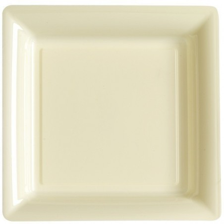 Plate square ivory 23x23 cm disposable plastic - the 12