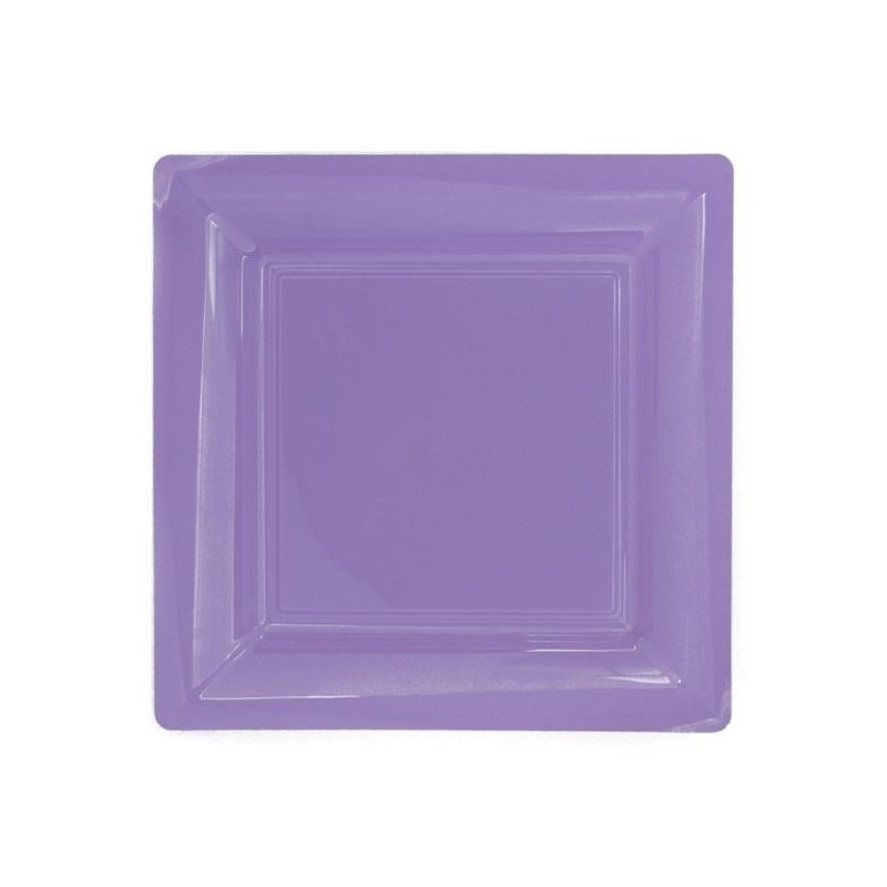 Plate square lilac 23x23 cm disposable plastic - the 12