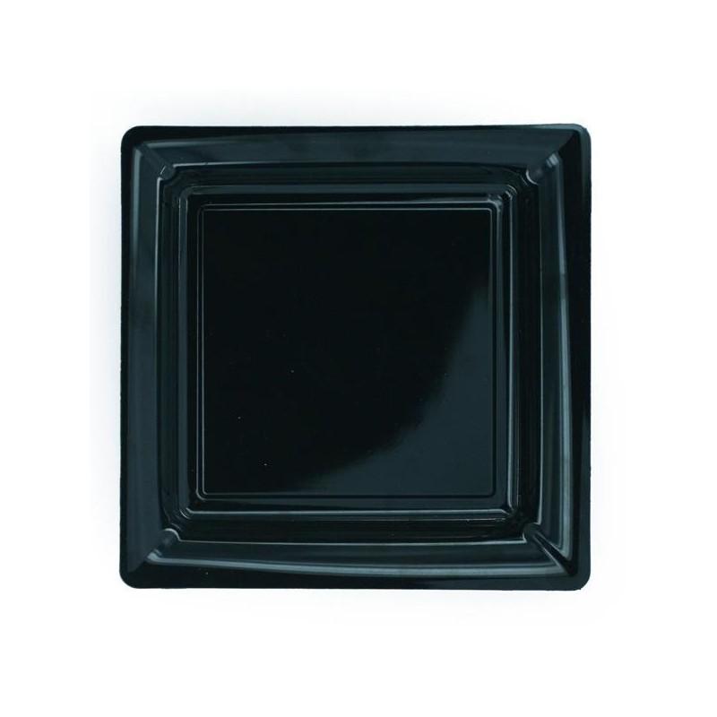 Assiette carrée noire 23x23 cm en plastique jetable - les 12