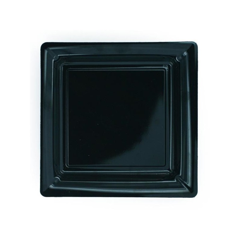 Plate black square 23x23 cm disposable plastic - the 12