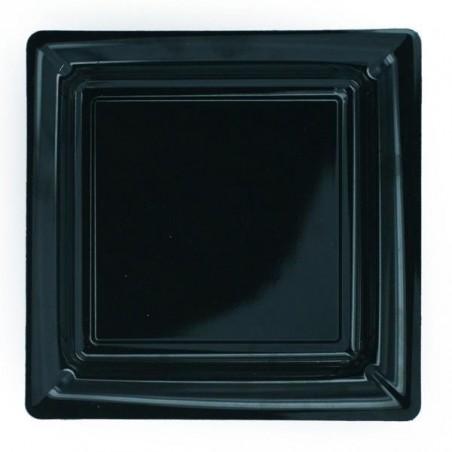 Plato negro cuadrado 23x23 cm plástico desechable - el 12