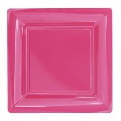 Assiette carrée rose fuchsia 23x23 cm en plastique jetable - les 12