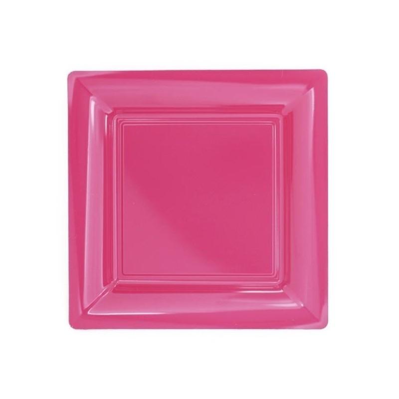 rosa plato cuadrado fucsia 23x23 cm de plástico desechable - 12