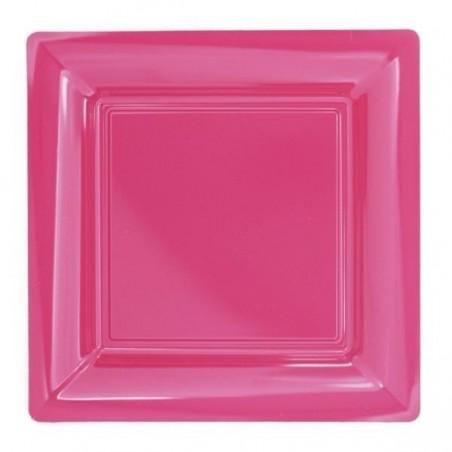 Assiette carrée rose fuchsia 18x18 cm en plastique jetable - les 12