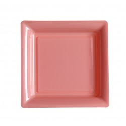Assiette carrée rose pastel 23x23 cm en plastique jetable - les 12