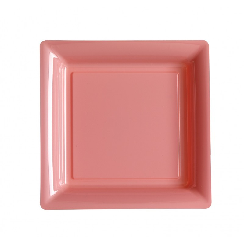 Pastel pink square plate 23x23 cm disposable plastic - the 12